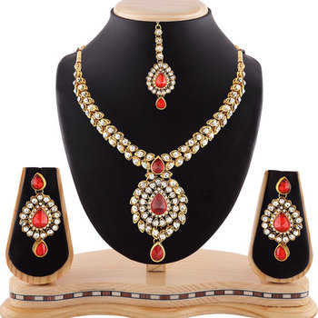 Red Austrian Stone Exclusive Design Gold Finishing Necklace Set With Maang Tikka