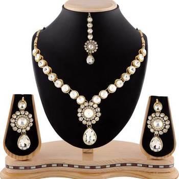 White Stone Exotic Gold Finishing Necklace Set With Maang Tikka