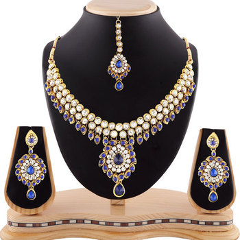 Exclusive Design Blue Austrian Stone Gold Finishing Necklace Set With Maang Tikka