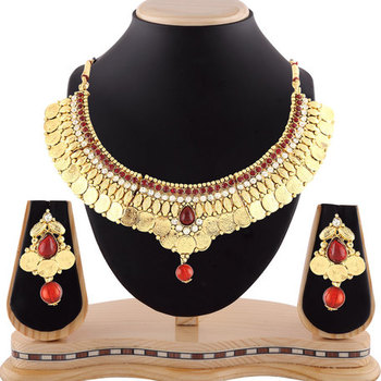 Traditional Maroon Stone Temple Jewellery Coin Necklace Set