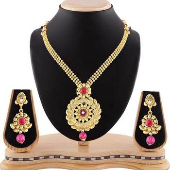 Pink Austrian Stone Trendy Design Necklace Set