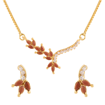 Brown gold plated pendant set