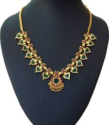 Buy Green palakka necklace with fourteen palakka Necklace online