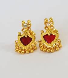 Maroon Palakka Stud Earrings
