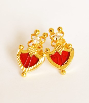 Red Palakka Stud Earrings