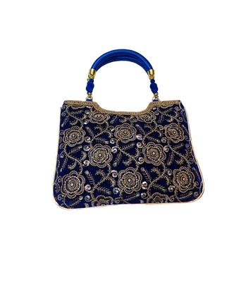 Blue Raw Silk Handbag with Rose Pattern
