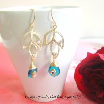 Teal Kundan Leafy earrings
