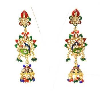 Beautiful Multicolored Meenakari Peacock Earing