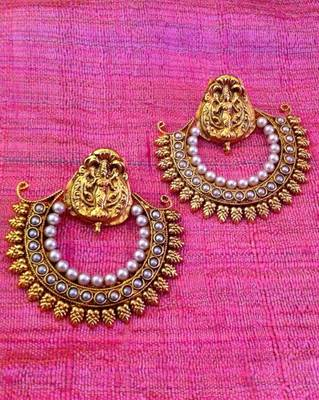 Ethnic leaves goddess lakshmi motif ram leela pearl earring Ha369w