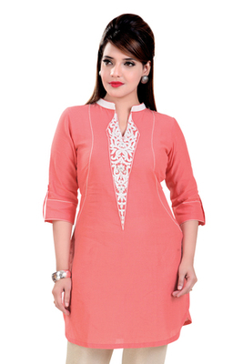 Dark  Peach Linen Short Kurti