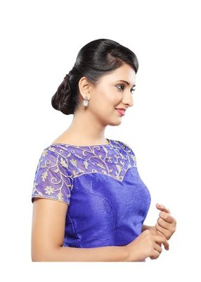Royal Blue Embrodiery Stitched Net Readymade Blouse