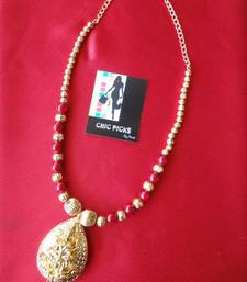 Buy Laxmi Pendant Necklace with Red & Golden Beads Necklace online