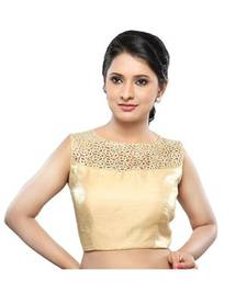 Buy Gold no embrodiery stitched tissue readymade blouse readymade-blouse online
