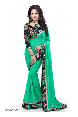 046260be8ea67 Green Plain Saree With Floral Printed Border - MIRA ENTERPRISE - 1151736