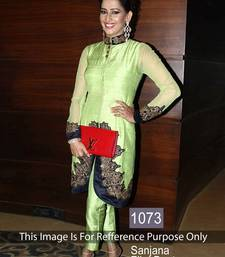 Buy Light green art silk embroidered semi stitched salwar with dupatta bollywood-salwar-kameez-online online