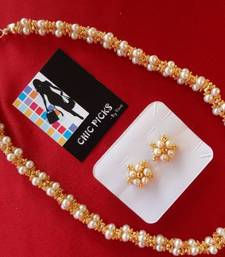 Buy Pearl Mala designer - Short with Earrings necklace-set online