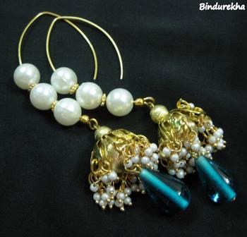 White_Pearls_Blue_Drop_Designer_Jhumka