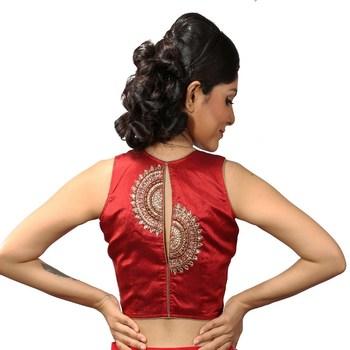 Maroon handwork blouse. dupion silk stitched blouse