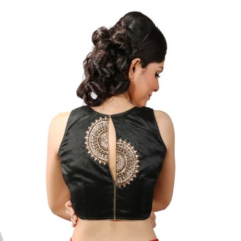 Black handwork blouse. dupion silk stitched blouse