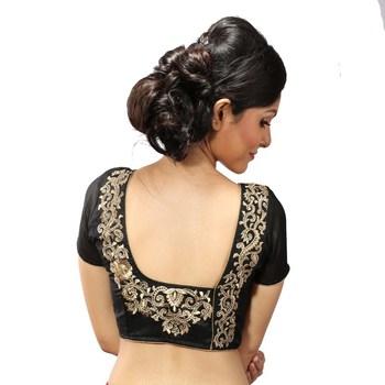 Black dupion silk Gold zari embroidery stitched blouse