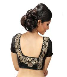 Black dupion silk Gold zari embroidery stitched blouse