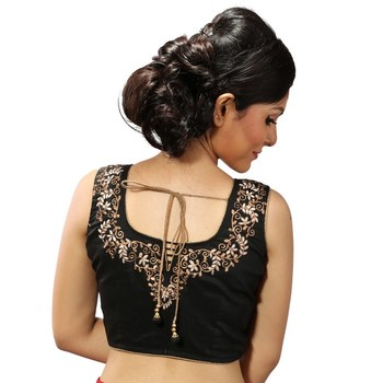 Black zari embroidery chanderi silk stitched blouse