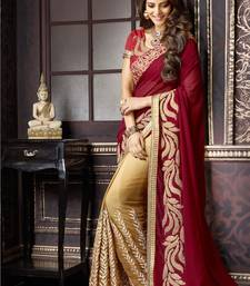 Buy georgette saree by fabkaz (Maroon) designer-embroidered-saree online