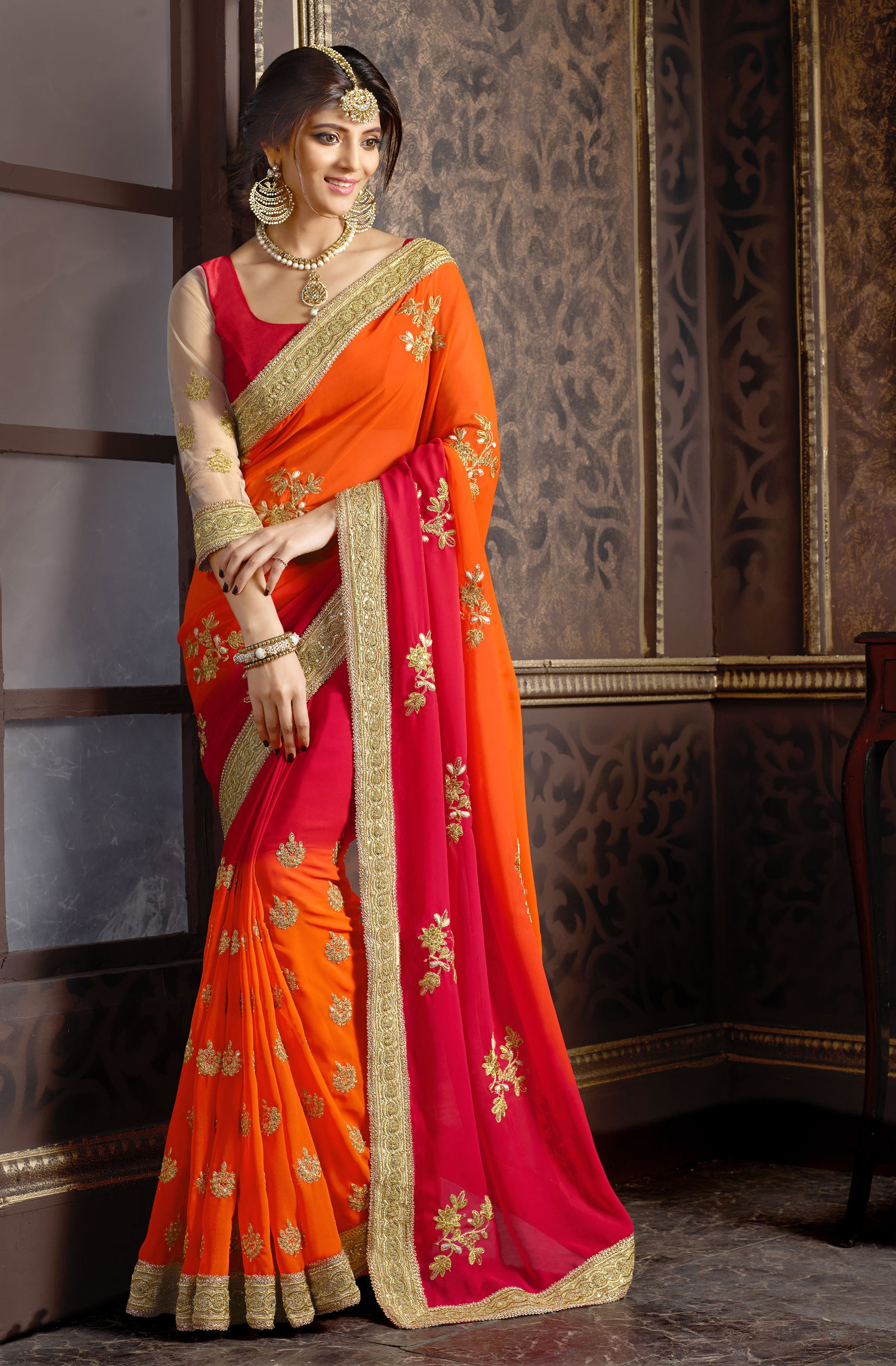 fac53d4d01030f georgette saree by fabkaz (Red) - FABKAZ - 1152249