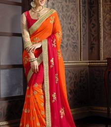 Buy georgette saree by fabkaz (Red) designer-embroidered-saree online