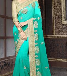 Buy georgette saree by fabkaz (Turquoise) designer-embroidered-saree online