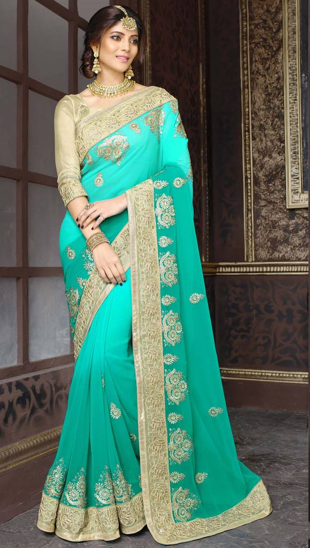Buy Georgette Saree By Fabkaz Turquoise Online