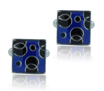Square blue black checks enamel rhodium plated cufflink for men