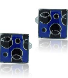 Square blue black checks enamel rhodium plated cufflink for men
