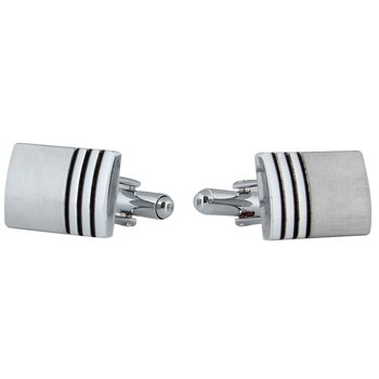 Rectangle black stripes matte finish rhodium plated cufflink for men
