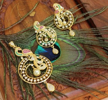 Multicolor American Diamonds Agate Pendants