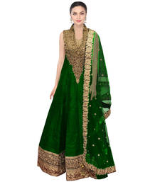 Buy green embroidered Raw Silk semi stitched salwar collar-neck-design online