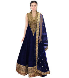 Buy blue embroidered Raw Silk semi stitched salwar collar-neck-design online