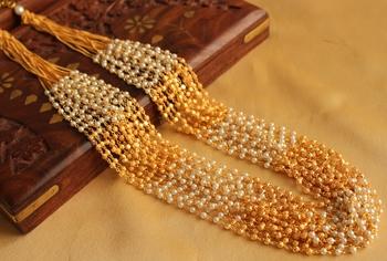 Lovely Designer 15 Strand Pearl  Gold Multilayer Necklace