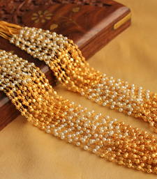 Buy LOVELY DESIGNER 15 STRAND PEARL -GOLD MULTILAYER NECKLACE -DJ03368 Necklace online