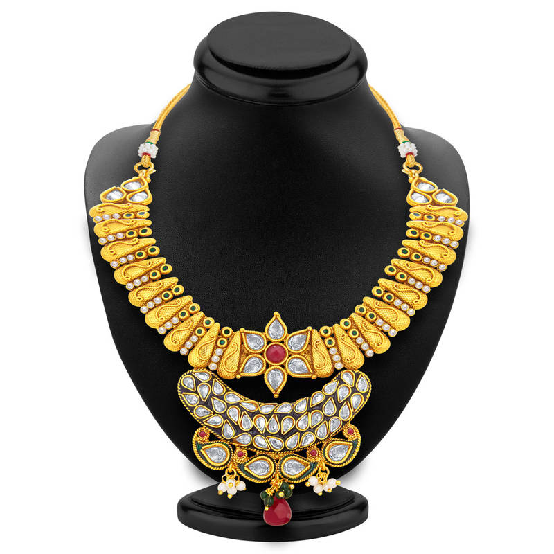 Buy Glamorous Gold Plated Kundan Necklace Set For Women Online
