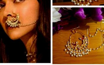 Mastani Peacock Pearl Gold Platted Spring Nath