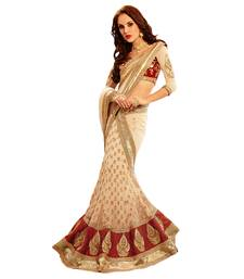 Buy beige embroidered net saree With Blouse lehenga-saree online