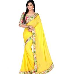 Buy Yellow printed Georgette saree With Blouse haldi-ceremony-dress online