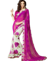Buy Pink printed Georgette saree With Blouse women-ethnic-wear online