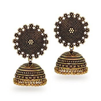 Oxidised Gold Plating Handmade Jhumka Earrings