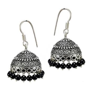 065f68bfcf S Shape Print Black Beads Black Metal Jhumka Earrings - V L IMPEX - 1158573