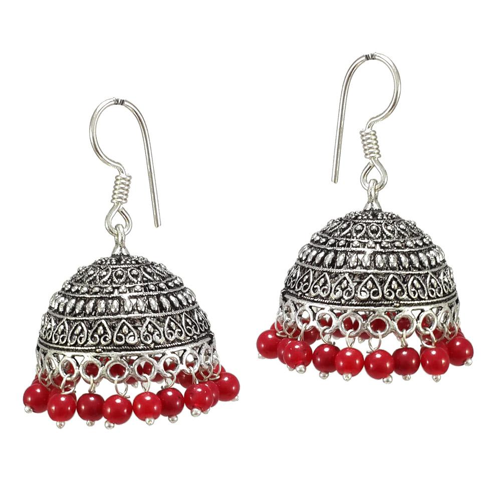 c7df5b9de7 S Shape Print Black Beads Maroon Metal Jhumka Earrings - V L IMPEX - 1158585