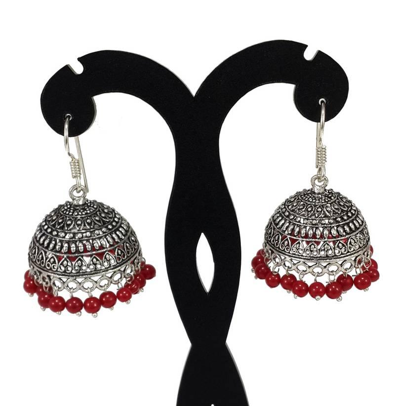 a10da4b701 S Shape Print Black Beads Maroon Metal Jhumka Earrings - V L IMPEX ...