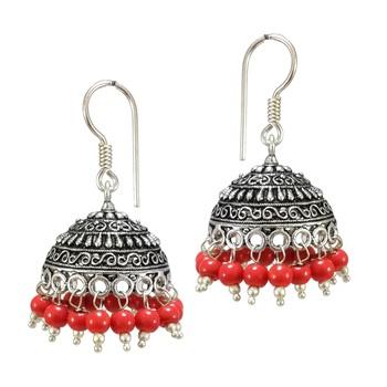 f85bf3027e S Shape Print Black Beads Orange Metal Jhumka Earrings - V L IMPEX - 1158588