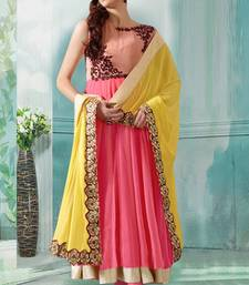 Buy Peach and pink georgette embroidered semi stitiched salwar with dupatta salwar-kameez-below-2000 online